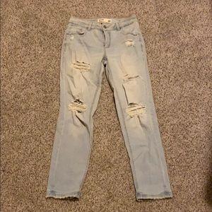 light wash distressed boyfriend jeans from garage